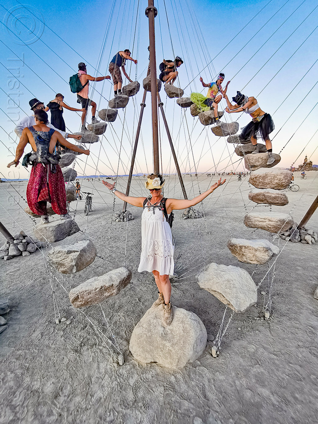 stone 27 by benjamin langholz - circular staircase - burning man 2019, art installation, benjamin langholz, burning man, cables, circular staircase, hanging, rocks, sculpture, stairs, steps, stone 27, trail