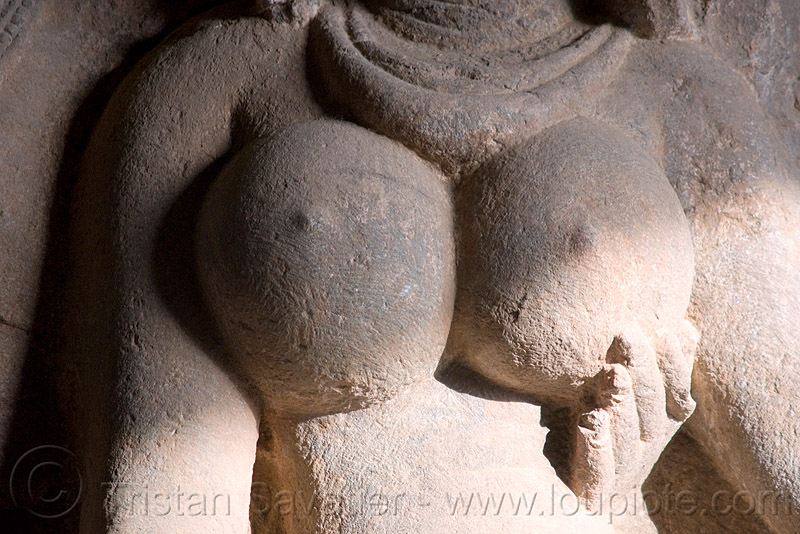 stone breasts - river goddess statue - underground hindu and buddhist temples - ellora caves (india), breasts, carving, ellora caves, erotic sculpture, hindu temple, hinduism, river goddess, statue, stone, woman