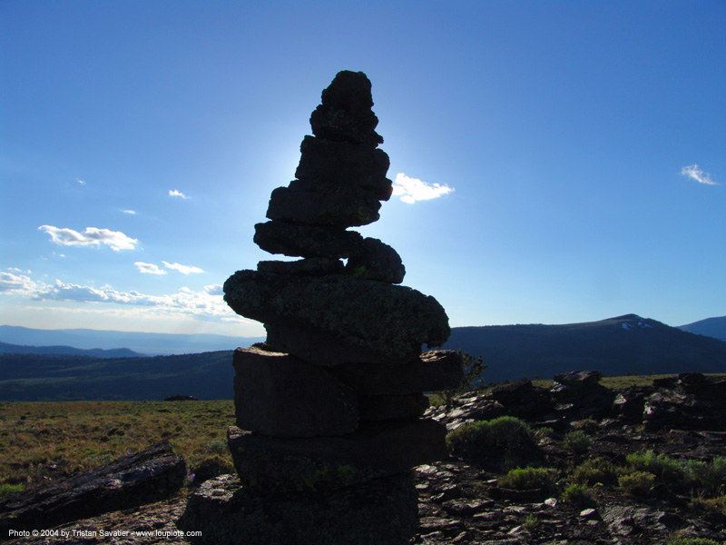 stone cairn in backlight, backlight, hippie, mountain, stone cairn