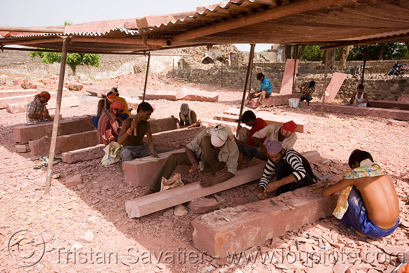 stone carvers at work - mandu (india), india, mandav, mandu, men, stonecarvers, stonemasons, workers, working