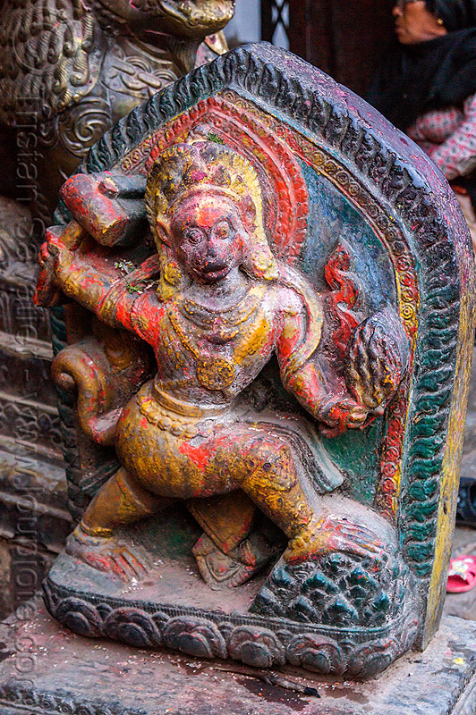 stone sculpture of hindu deity - bagh bhairav temple (nepal), carving, dyes, hindu temple, hinduism, kirtipur