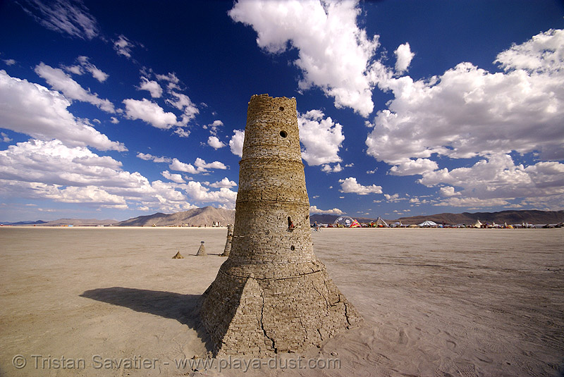stone tower - playa ruins - burning man 2007, art installation, burning man, playa ruins, tower