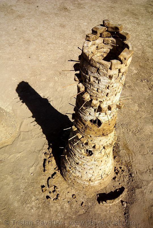 stone tower - playa ruins - burning man 2007, art installation, burning man, playa ruins, stone tower