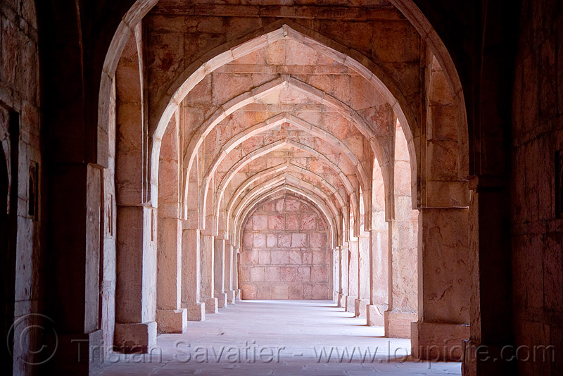 stone vaults - palace ruins - mandu (india), architecture, mandav, perspective, vanishing point