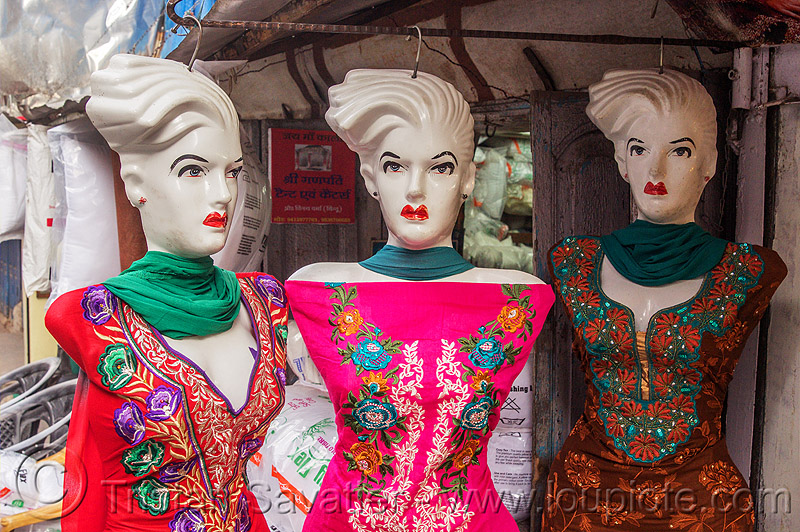 store dummies look unhappy (india), almora, clothing store, cloths, dress, dresses, embroidered, market, shop, store dummies