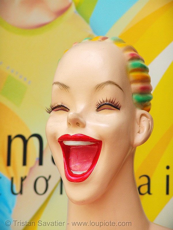 store dummy head - laughing - vietnam, mannequin, mouth, red, vietnam dummy, woman
