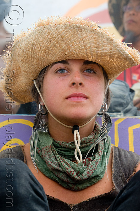 straw hat, alex, burning man, center camp, straw hat, woman