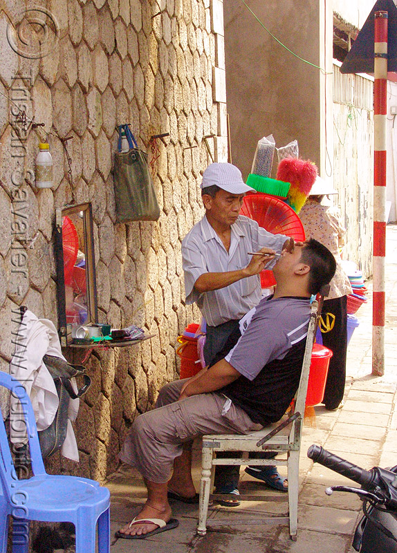 street barber - vietnam, chair, hanoi, men, shaving, sitting, street barber, working