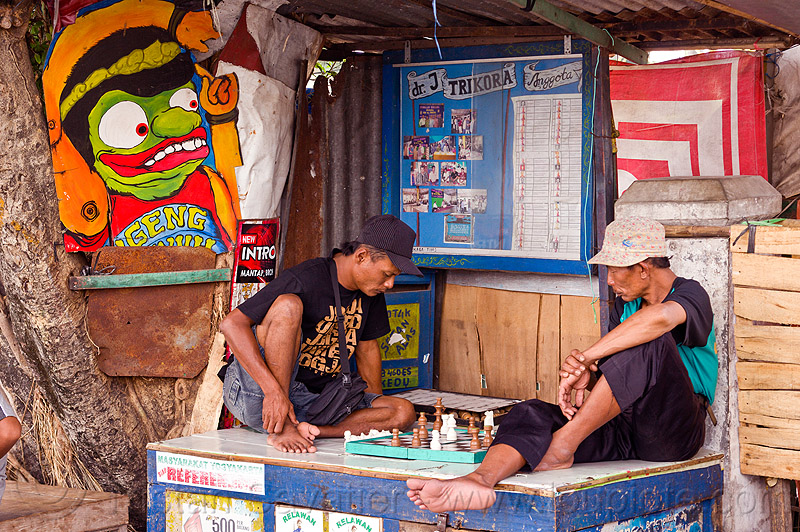 street chess players, chess board, chess game, java, jogja, jogjakarta, market, men, player, playing, sitting, street, yogyakarta