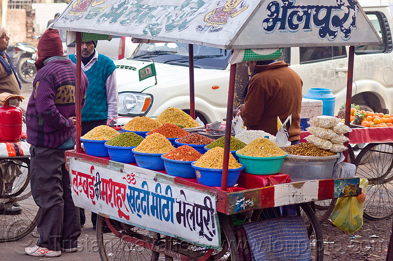 street food cart - lucknow (india), heaps, men, people, snack food, snacks, street vendor