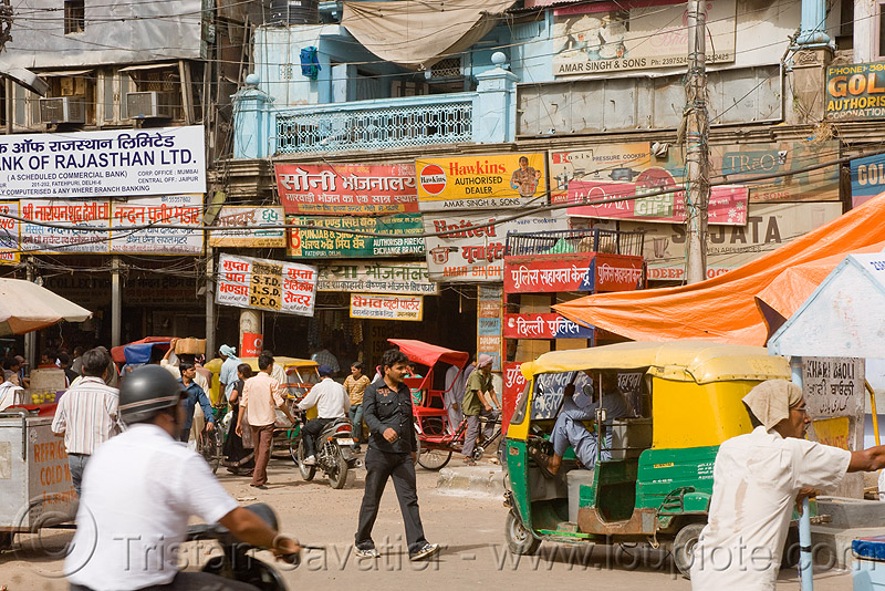 street in delhi (india), auto rickshaw, people, shop signs