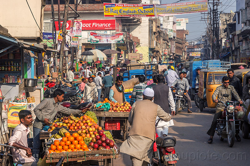street market and traffic (india), farmers market, fruits, merchants, people, produce, stalls, street vendors, varanasi