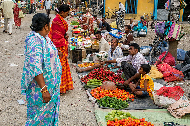 street market in gairkata - west bengal (india), boy, crowd, farmers market, men, people, produce, shopping, stall, vegetables, veggies, vendor, women