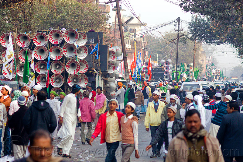 street parade with sound trucks - eid-milad-un-nabi muslim festival (india), bullhorns, crowd, eid e milad un nabi, eid e milād un nabī, india, islam, loudspeakers, mawlid, men, muhammad's birthday, muslim festival, muslim parade, muslims, nabi day, prophet's birthday, sound, speakers, عید میلاد النبی, ईद मिलाद नबी
