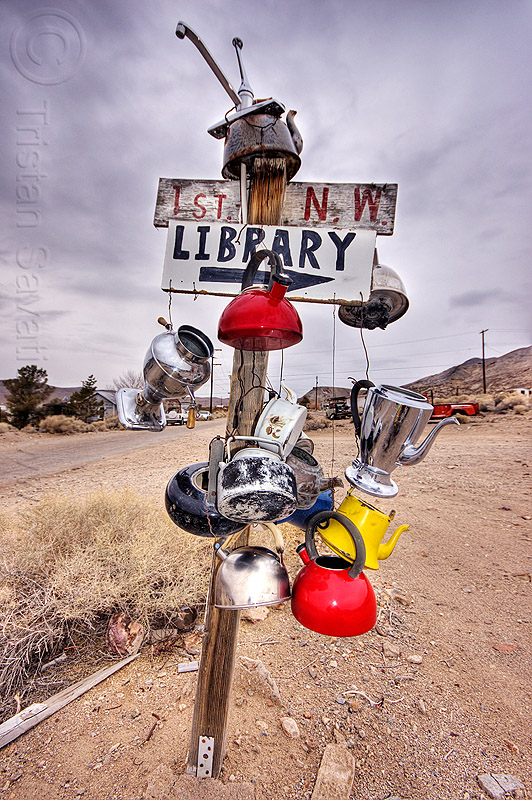 street sign in the wild west, 1st, darwin, death valley, dirt road, ghost town, library, nw, post, street sign, teakettles, unpaved