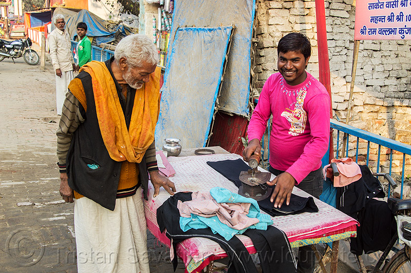 street tailor ironing clothes, charcoal iron, cloth iron, daraganj, ironing table, kumbha mela, maha kumbh mela, market, men, merchant, pan, sendor, street, tailor