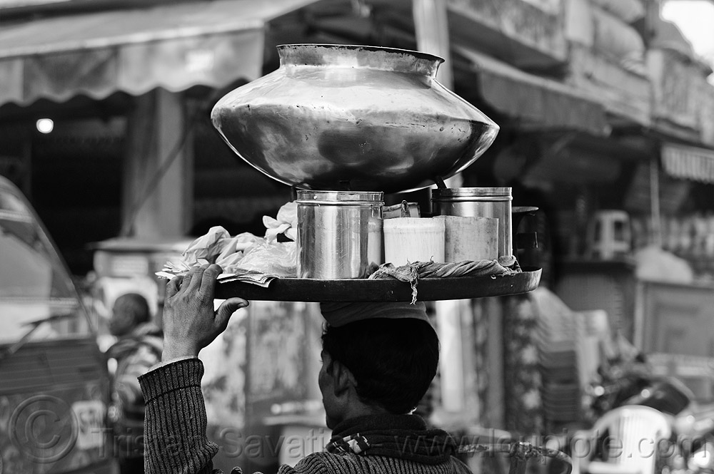 street vendor holding tray on his head - large copper vessel., carrying on the head, copper vessel, delhi, india, man, metal pot, paharganj, street seller, street vendor, tray