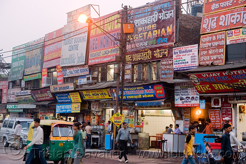 street with advertising signs - delhi (india), advertising, billboards, delhi, shop signs, street