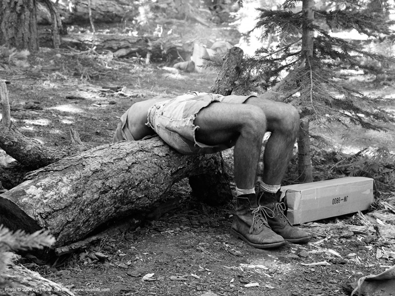 stretching - rainbow gathering - hippie, forest, hippie, man, rainbow family, rainbow gathering, stretching, tree log