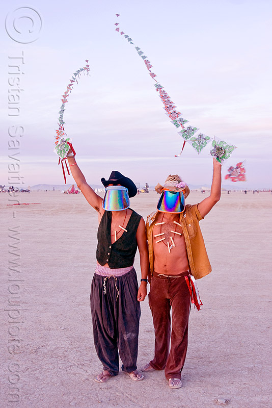 strings of kites, burning man, kites, men, mirror visor, strings, two, visors