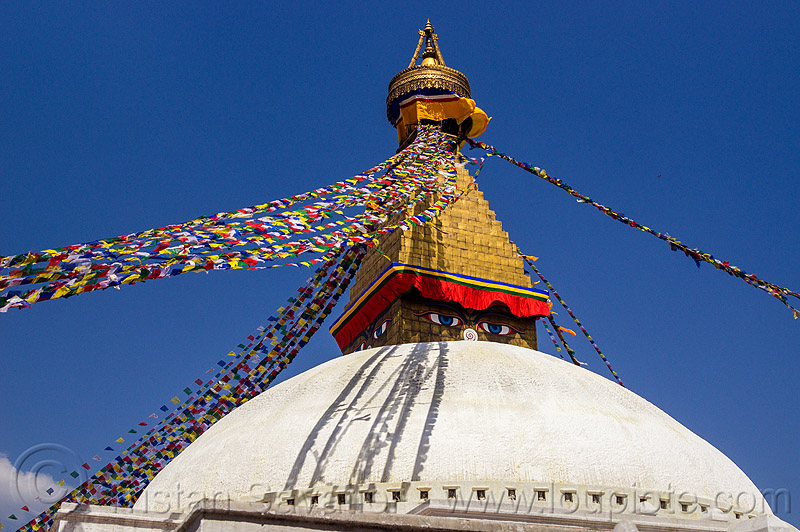 strings of prayer flags at the  bodnath stupa - kathmandu (nepal), boudhanath, buddhism, tibetan