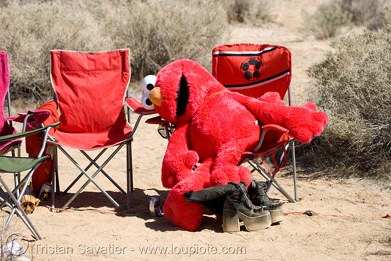 elmo, desert, desert party, psy trance, puppet, rave party