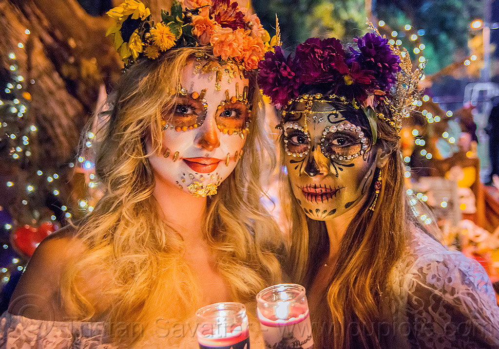 sugar skull makeup - dia de los muertos, andrea, bindis, candle light, candles, day of the dead, face painting, facepaint, flower headdress, flowers, halloween, mariana, night, people, women