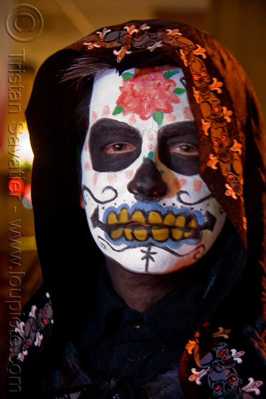 sugar skull makeup - dia de los muertos - halloween (san francisco), day of the dead, dia de los muertos, face painting, facepaint, halloween, hood, man, night, sugar skull makeup