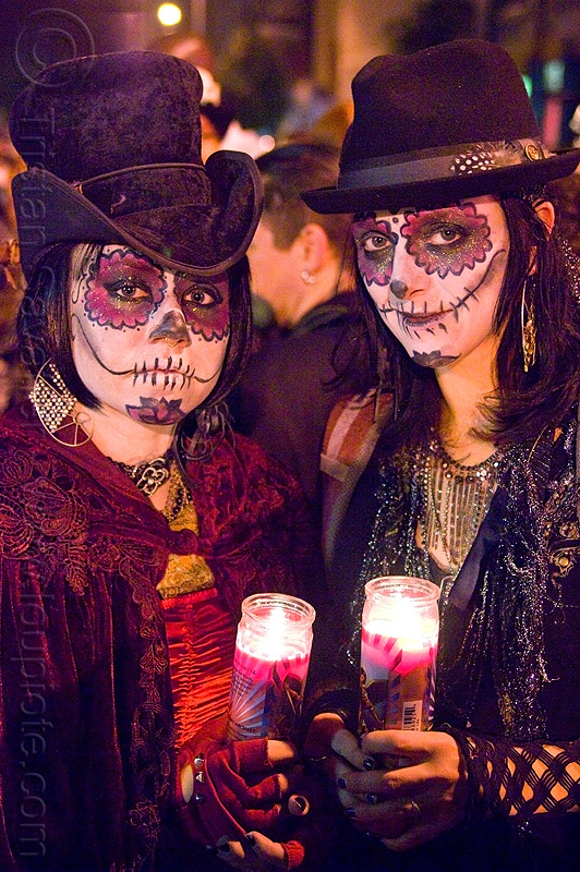 sugar skull makeup - dia de los muertos - halloween (san francisco), candles, day of the dead, dia de los muertos, face painting, facepaint, halloween, hats, night, sugar skull makeup, women