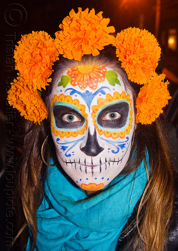 sugar skull makeup - orange marigold flowers headdress, blue scarf, day of the dead, dia de los muertos, face painting, facepaint, halloween, night, orange color, orange marigold, sugar skull makeup, tagetes, woman