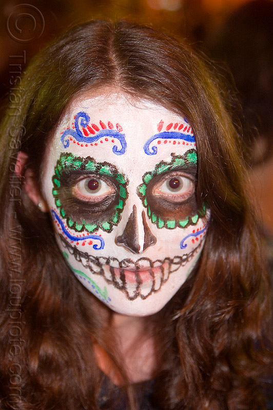 sugar skull makeup - staring eyes, day of the dead, dia de los muertos, face painting, facepaint, grey eyes, halloween, night, staring eyes, sugar skull makeup, woman