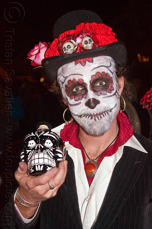 sugar skull makeup - white and red, day of the dead, dia de los muertos, face painting, facepaint, halloween, hat, man, necklace, night, red, sugar skull bottle, sugar skull makeup