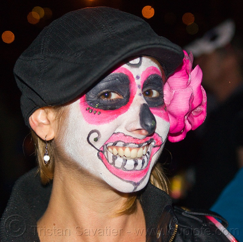 sugar skull makeup with pink flower day of the dead dia de los muertos - Halloween Day Of The Dead Face Paint