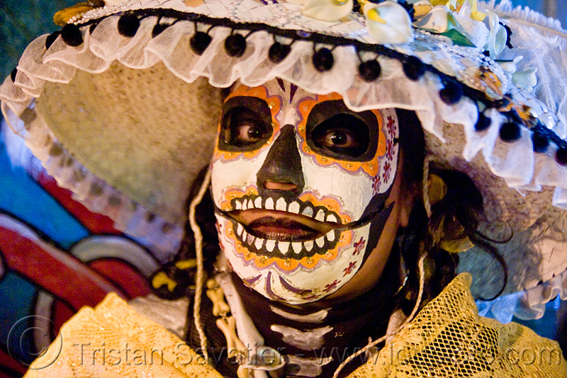 sugar skull mask - dia de los muertos - halloween (san francisco), day of the dead, dia de los muertos, face painting, facepaint, halloween, hat, lace, makeup, mask, night, woman