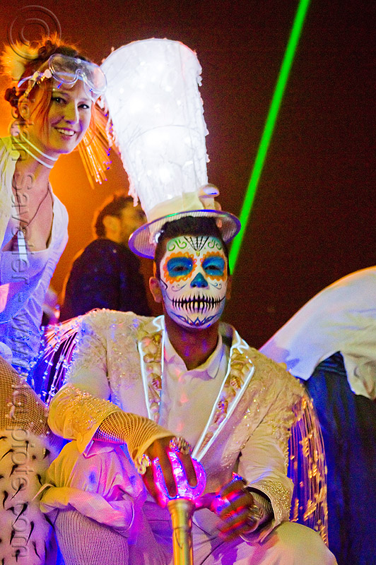 suliman nawid in his trademark dia de los muertos makeup and matador costume - burning man 2012, burning man, costume, day of the dead, dia de los muertos, face painting, facepaint, hat, night, sugar skull makeup, suliman nawid
