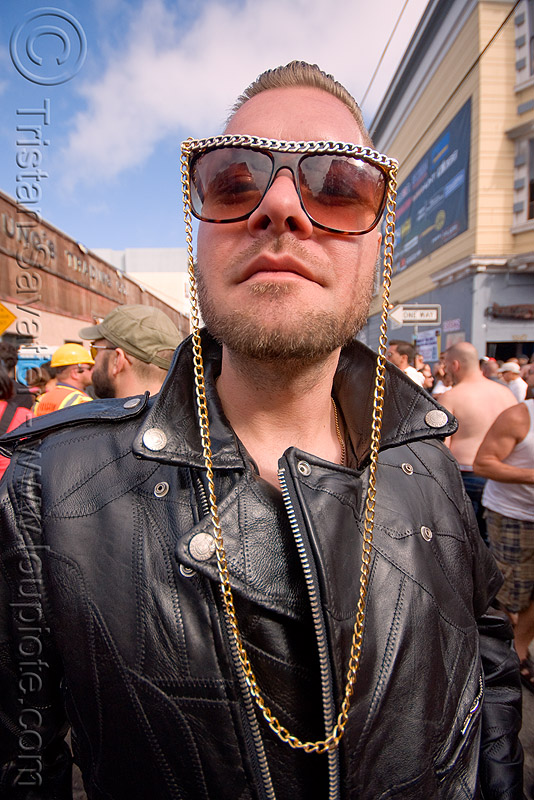 sunglasses with long chain, chain, dore alley fair, leather jacket, man, patchwork, ric ray, sunglasses