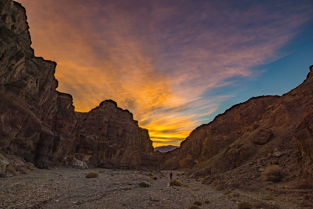 sunset - fall canyon - death valley national park (california), death valley, fall canyon, hiking