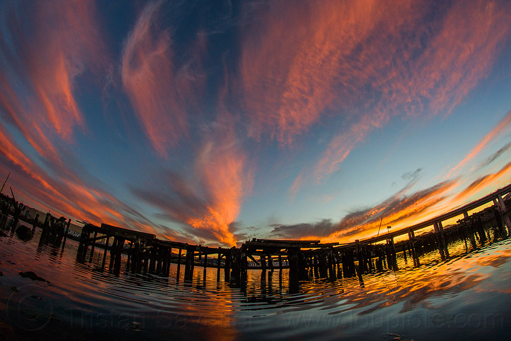 sunset sky (san francisco), cirrus clouds, dusk, fisheye, high clouds, islais creek, piers, ripples, sunset, water