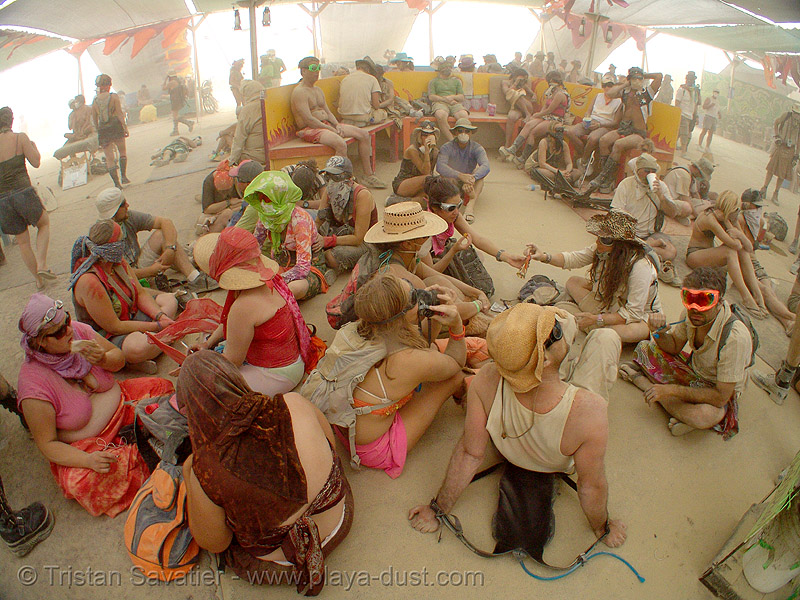surviving the dust storm in center camp - burning man 2007, burning man, center camp, dust storm, playa dust, whiteout
