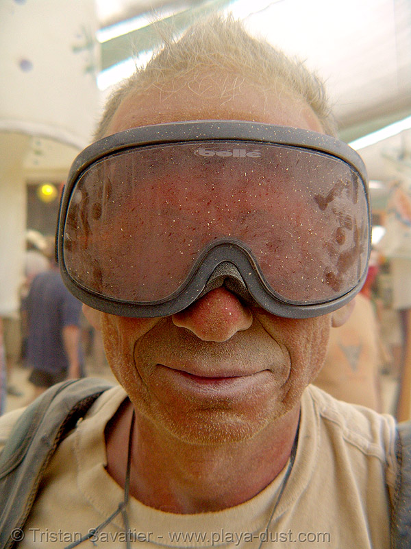 surviving the dust storm in center camp - burning man 2007, burning man, dust storm, goggles, playa dust, whiteout