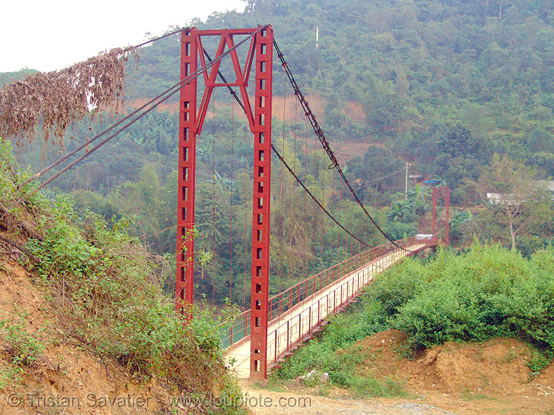 suspension bridge - vietnam, bridge pillar, bridge tower, nà phòng, red, suspension bridge, vietnam
