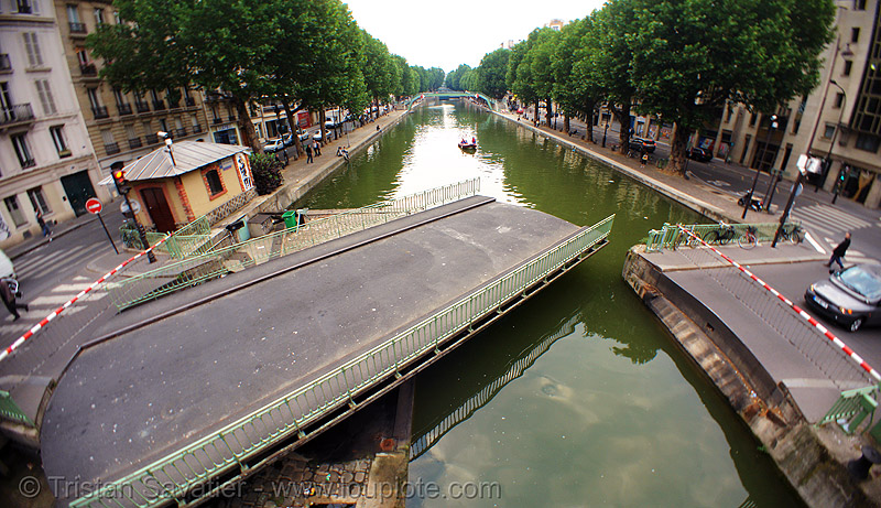 "swing bridge of the ""rue dieu"" and canal st martin (paris, france), canal saint-martin, canal st-martin, fisheye, infrastructure, movable bridge, paris, pont mobile, pont tournant de la rue dieu, swing bridge, water"