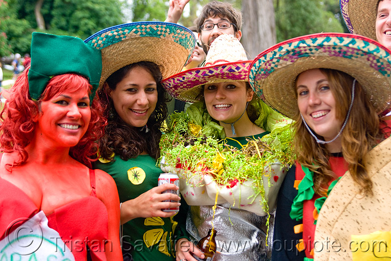 tabasco, chili, burrito and taco, bay to breakers, constumes, festival, food, footrace, mexican, people, sombreros, street party, women