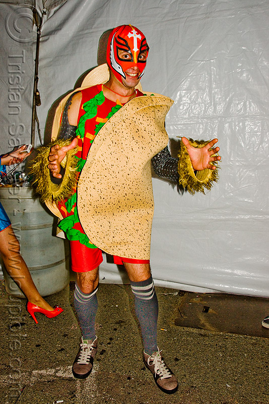 taco costume - ghostship halloween party on treasure island (san francisco), ghostship 2009, mask, people, rave party, space cowboys