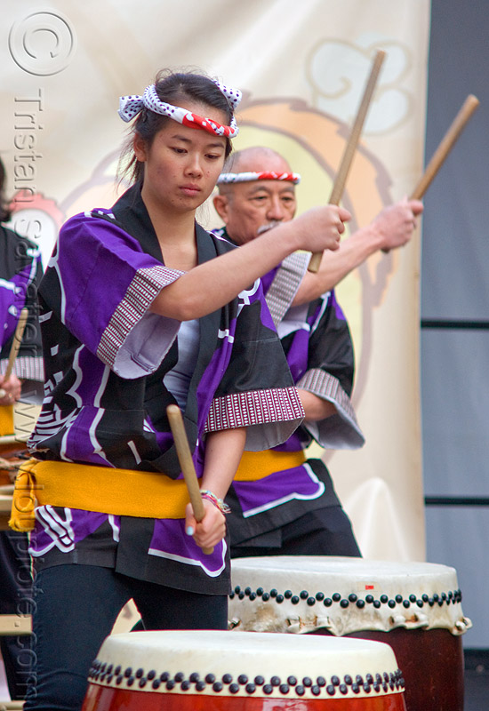 taiko drummers, asian woman, chinese new year, drumming, drums, drumsticks, genryu arts, japanese drums, lunar new year, man, people, taiko dojo