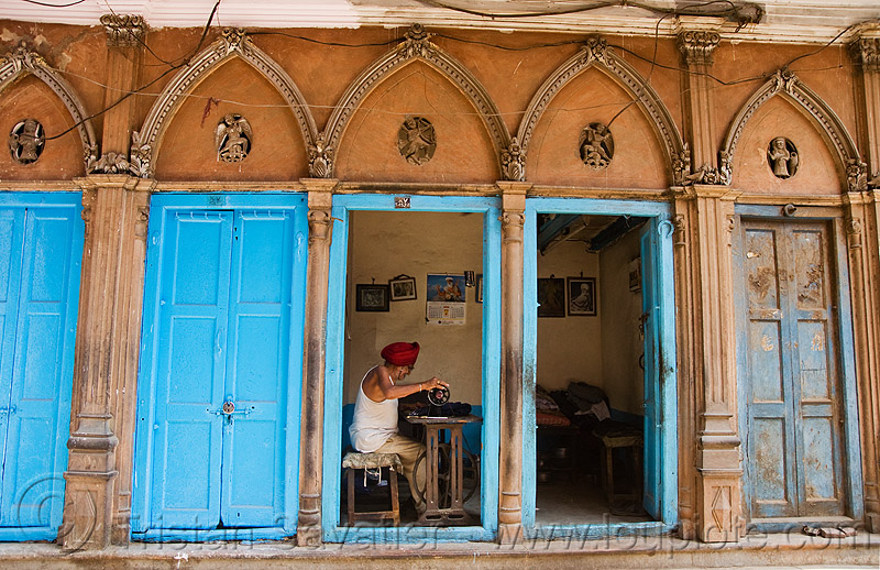 tailor - delhi (india), architecture, blue doors, delhi, india, man, sewing machine, shop, sikh, sikhism, taylor, working