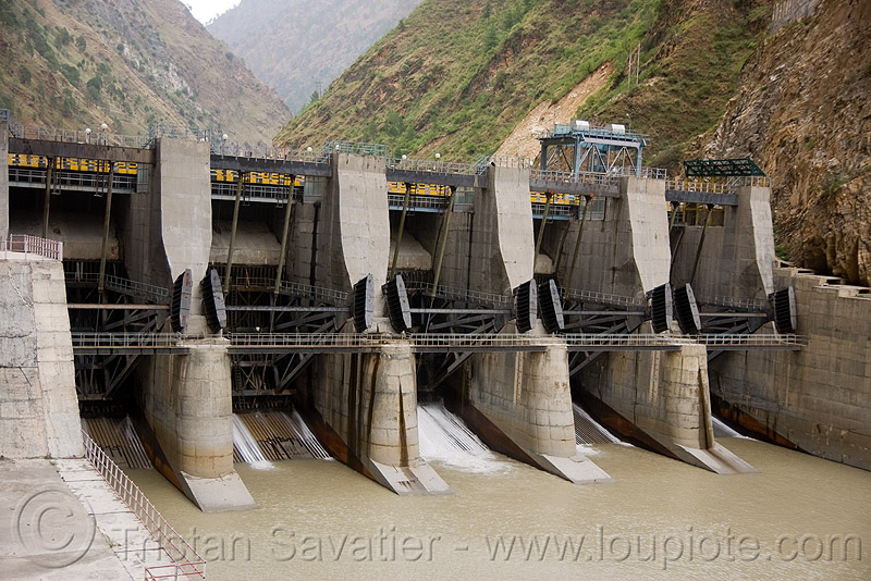 tainter gates - floodgates - larji dam (india), beas, flood control, hydro-electric, infrastructure, larji he project, river, river beas, spillways, water