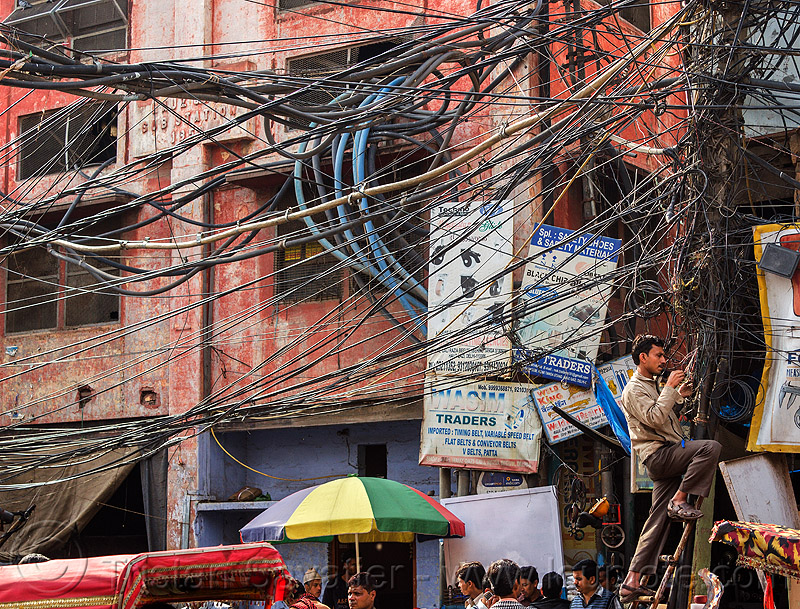 tangled power lines - messy electric wiring in street (india), delhi, electric, electricity, high voltage, india, power lines, tangled, wires, wiring