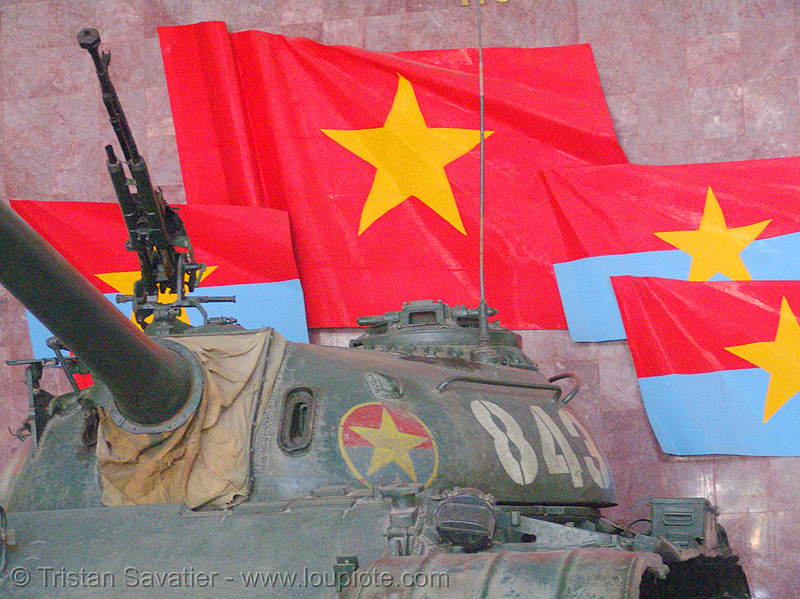 T-54 tank 843 - victory - war - vietnam, army, army museum, army tank, flag, ho chi minh city, military, red, red flag, saigon, vietnam flag, vietnam war, yellow