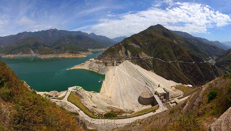 tehri dam (india), artificial lake, bhagirathi river, bhagirathi valley, hydro electric, infrastructure, mountains, reservoir, tehri dam, tehri lake, water